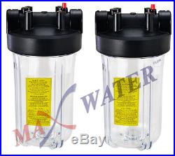 10 Big Blue 2 CLEAR Whole House Filter Housing With Pressure Release & Gauge hole