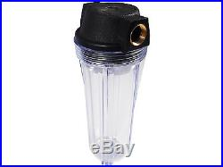10x2.5 Clear Filter Housing 3/4 NPT Brass Port Whole House RO Biodiesel WVO