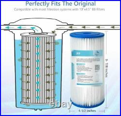 10x4.5 Whole House Big Blue Sediment Pleated Water Filter 20/50 Micron 2-18PCS