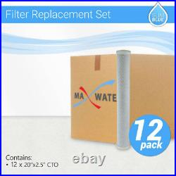 12 x Max Water Whole House CTO Carbon Block Filter, 20x2.5