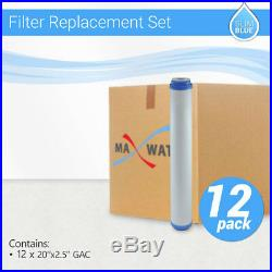 12 x Max Water Whole House GAC UDF GAC Coconut Shell Carbon Filter, 20x2.5