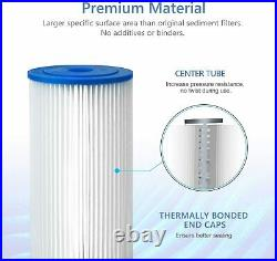 20 Micron 10x4.5 Whole House Big Blue Sediment Pleated Water Filter 4-18 Pack