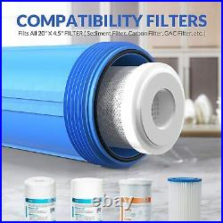 20 x4.5 Big Blue Whole House Filter Housing 1 Ports With Pressure Release-4Pack
