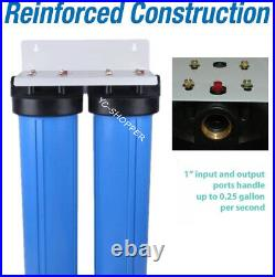 20 x 4.5 Big Blue Twin Whole House Water Filter System 2 stages 1 Brass Port