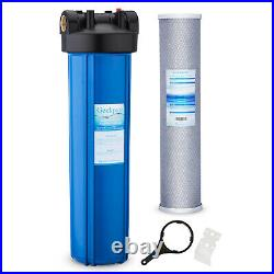 20 x 4.5 Big Blue Whole House Water Filter Housing Plus Carbon Block Filter