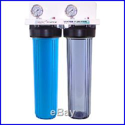 20x4.5 Big Blue Two Stage Clear Whole House Water Filter System, 1 in/out port