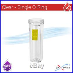 20x4.5 Big Blue Two Stage Clear Whole House Water Filter System, 1 port Single