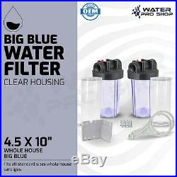2 Big Blue 10-Inch Whole House Water Filter Clear Housing 1-Inch Outlet/Inlet