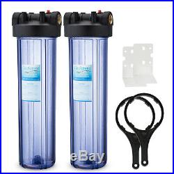 2 Pack Big Blue 20 Water Filter Clear Housing For Whole House 1 Outlet/Inlet