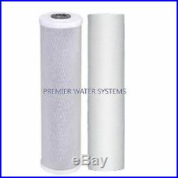 2 Stage 20 Big Blue Whole House Water Filter System withCarbon + Sediment Filters