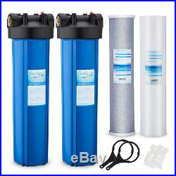 2 Stage Whole House Water Filter System with 20 Big Blue Housing 1 In/Out