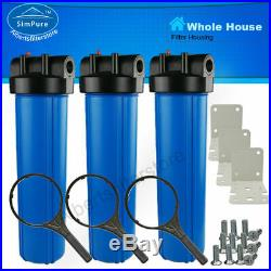 3PC Big Blue 20 Inch Universal Water Filter Housing for Whole House Filtration