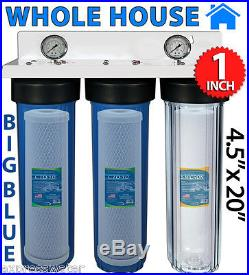 3 STAGE 20 x 4.5 BIG BLUE 1 PORT WHOLE HOUSE WATER FILTER+2 pressure gauge
