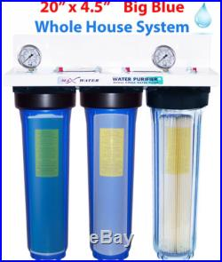 3 STAGE 20 x 4.5 BIG BLUE 3/4 PORT WHOLE HOUSE WATER FILTER+2 pressure gauge