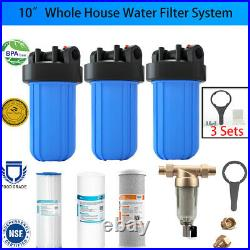 3-Stage Big Blue 10 Whole House System 1 Port+Carbon, Sediment, Pleated Filters