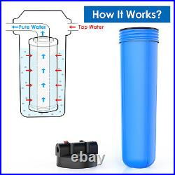 3-Stage Big Blue 20 Whole House Filtration System+Stand+GAC+Carbon+Sediment