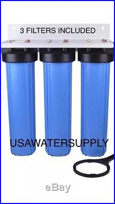 3-Stage Big Blue 20 Whole House System 1 Port+Sediment Water Filters RV