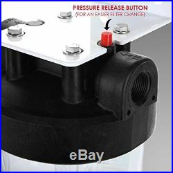 3 Stage Whole House Big Blue Water Filter System Iron/Manganese Removal CLEAR
