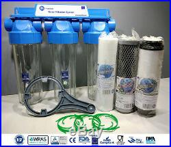 3 Stage Whole House High Flow Water Filter Dechlorinator Chlorine Removal 1/2