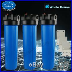 3-Stage Whole House Water Filtration System 20-Inch Big Blue With Complete Parts