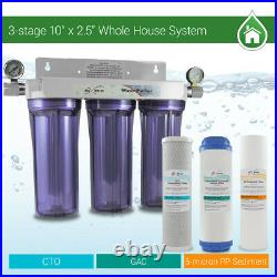 3 Stage Whole house water Sediment Carbon Filter + 2 Dry Pressure Gauges