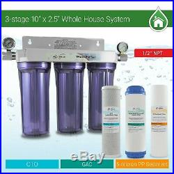 3 Stage Whole house water Sediment Carbon Filter +2 Dry Pressure Gauges 1/2 NPT