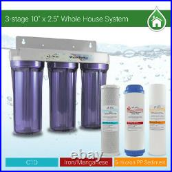 3 Stages 10x 2.5 3/4 Port Whole House Iron Manganese Max Water System Filter