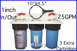 3 Whole House Water Filters, 25GPM, 10x4.5 + 3 cartridges, 3 CTO, 1 Micron