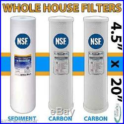 3x TRIPLE 3 STAGE BIG BLUE 20 x 4.5 CLEAR WHOLE HOUSE WELL WATER FILTER