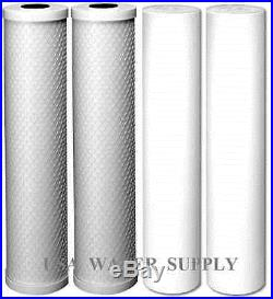 4 BIG BLUE FILTERS 20 x 4.5 WHOLE HOUSE SEDIMENT CTO CARBON BLOCK WATER FILTER