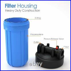 4 Pack Big Blue 10 Water Filter Clear Housing For Whole House 1 Outlet/Inlet