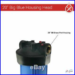 4 x20x4.5 BB Whole House Filter Blue Housing 1 Ports with Wrench, Gauge, Bracket