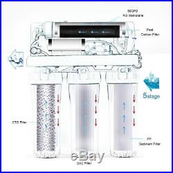 5Stage Reverse Osmosis Water System 50GPD RO Membrane Whole House w booster pump