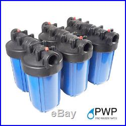 6 Pack 10x4.5 Big Blue Water Filter Housing 1 1/2 NPT Port Whole House RO/DI
