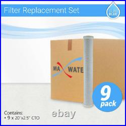 9 pack Max Water Whole House CTO Carbon Block Filter, 20x2.5
