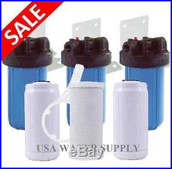 BIG BLUE 10 WATER FILTER SYSTEM 1 WITH FILTERS-TRIPLE WHOLE HOUSE/COMMERCIAL