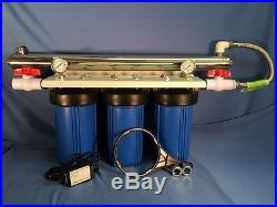 Big Blue 10 Triple Whole House Water Filter-12 gpm UV withBall Valves and Gauges