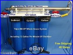 Big Blue 20 Triple Whole House Water Filter-12 gpm UV withBall Valves and Gauges