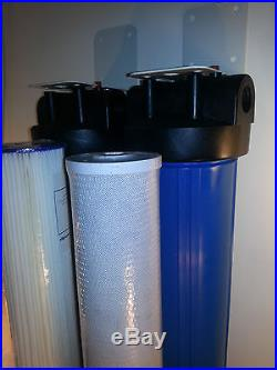 Dual Stage 20 Big Blue Whole House Water Filter Pleated & CTO Filter Cartridges
