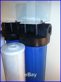 Dual Stage 20 Big Blue Whole House Water Filter Sediment & Carbon Block Filters