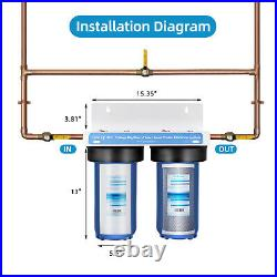 Geekpure 2 Stage Heavy Duty Whole House Water Filter System 10 x 4.5