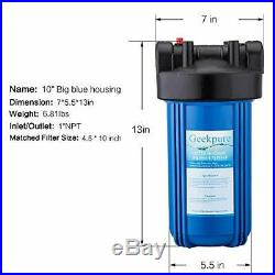 Geekpure 2 Stage Whole House Water Filter System with 10-Inch Big Blue Housing