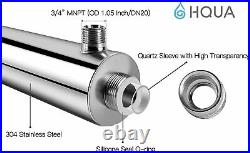 HQUA-OWS-12 Ultraviolet Water Purifier Sterilizer Filter for Whole House 12GPM