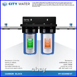ISPRING Whole House Water Filter 2-Stage 2-Piece Carbon Block Sediment Chlorine