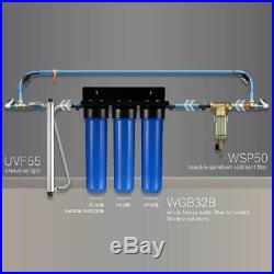 ISPRING Whole House Water Filtration Sediment Carbon Block Filters Blue 3-Stage