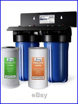 ISpring 2-Stage Whole House Water Filtration System, 4.5X10 Big Blue, 1 Ports