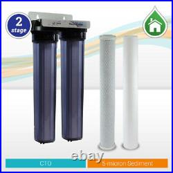 Max Water 2 Stage 20 x 2.5 Clear Housing Water Filter, Sediment Carbon CTO