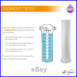 Max Water 3 Stage Big Blue 3/4 Port Whole House Water Filter + Pressure Gauge S