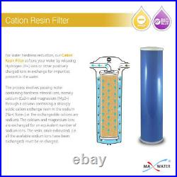 Max Water whole House Water Softening Filter Set 20 x4.5 Sediment, Cation, CTO