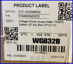 NEW iSpring WGB32B 3 Stage 20-Inch Whole House Water Filtration System FREE SHIP